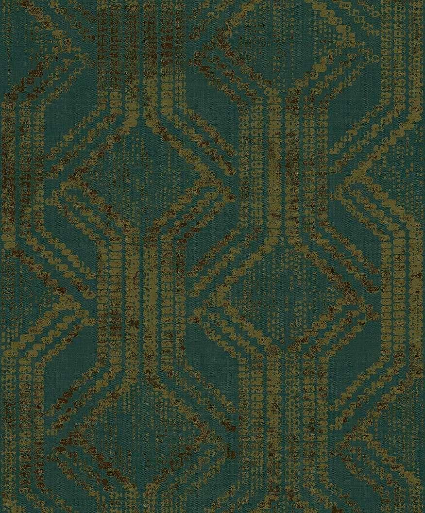 Zöld népies stílusú geometrikus mintás luxus tapéta