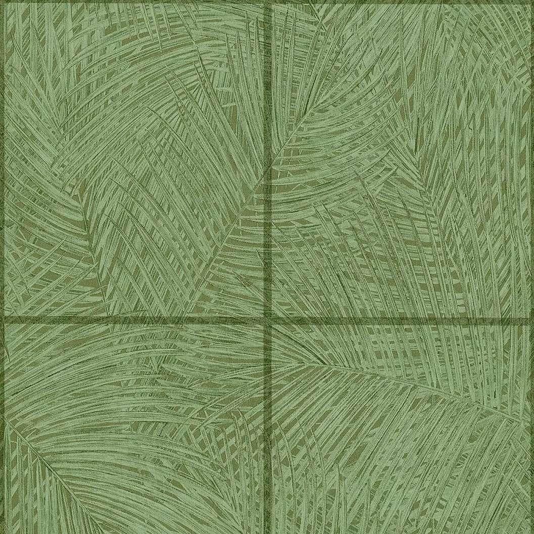 Zöld pálmalevél mintás vinyl tapéta keretes mintával