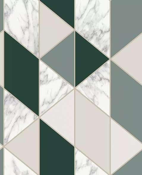 Zöld rombusz geometrikus mintás tapéta