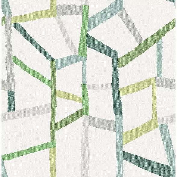 Zöld skandináv hangulatú absztrakt geometrikus mintás vlies prémium tapéta