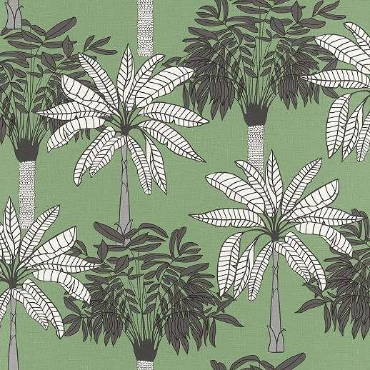Zöld skandináv rajzolt stílusú pálma mintás trendi vlies tapéta