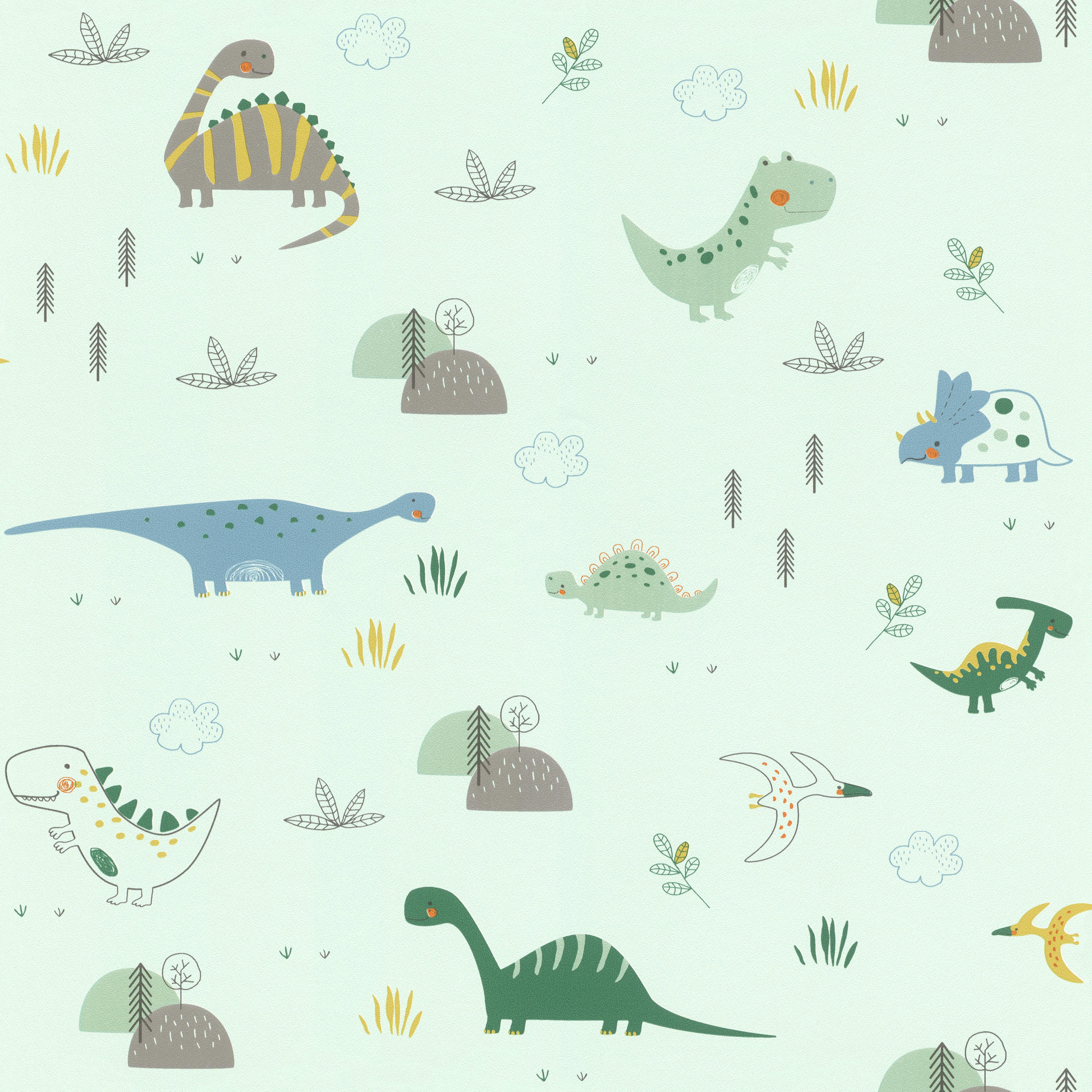Zöld színű vidám dinós tapéta