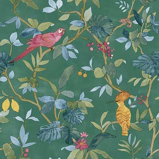 Zöldes alapon trópusi madár és pálmalevél mintás vlies design tapéta