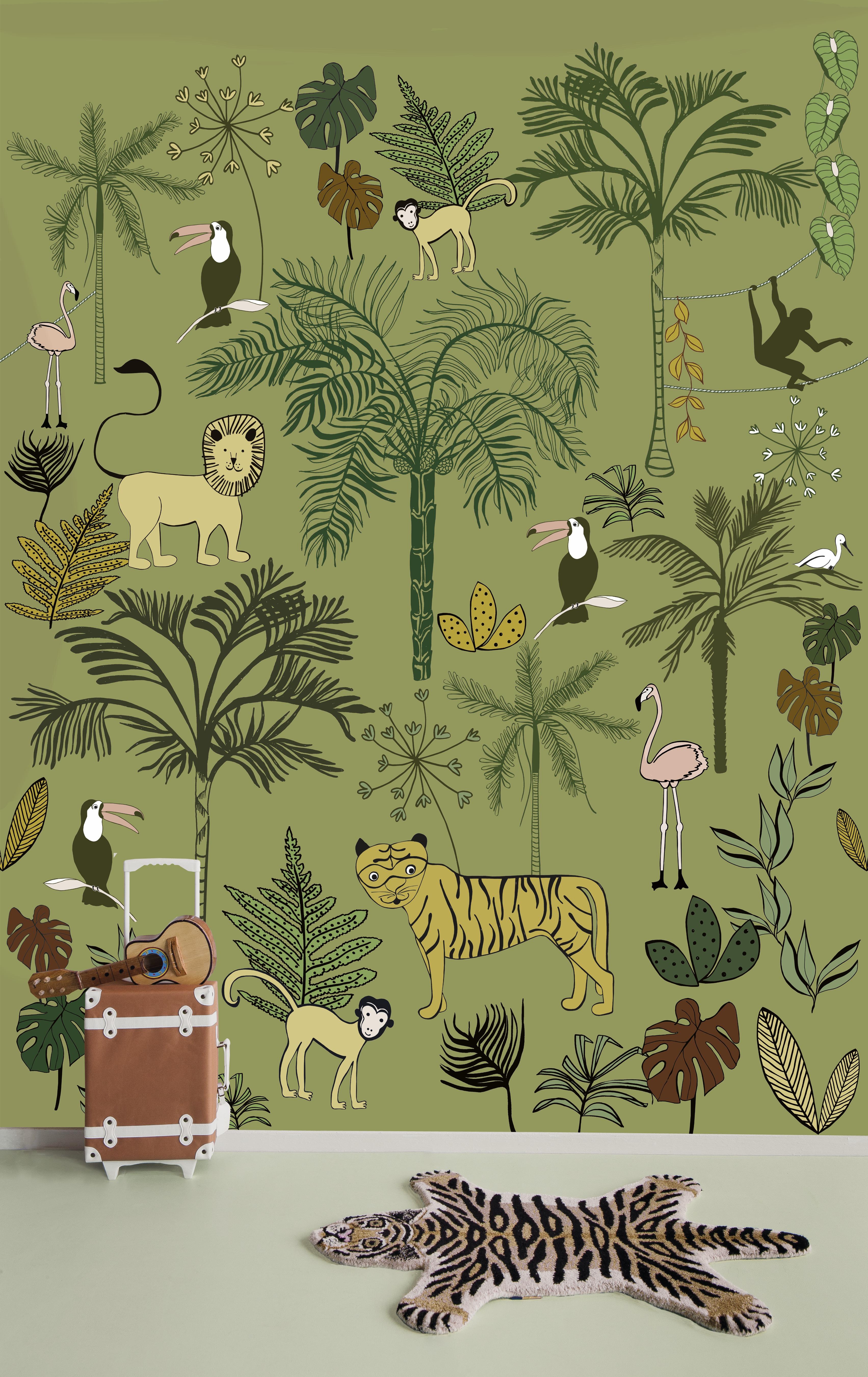 Zöldes dzsungel mintás fali poszter gyerekszobába