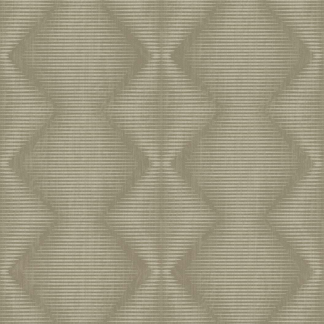 Zöldes modern geometriai mintás tapéta csíkos, kocka mintával