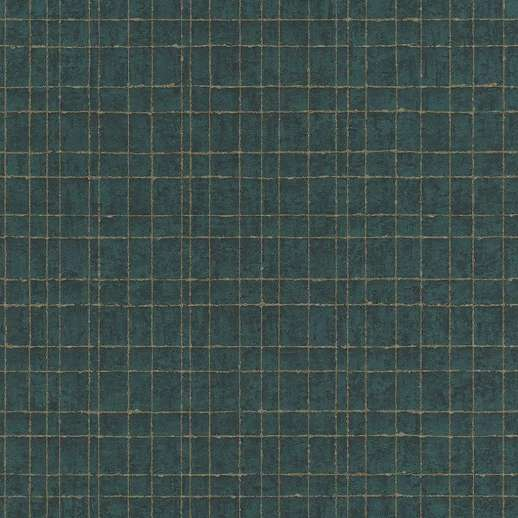 Zöldeskék alapon arany négyzetrács mintás vlies dekor tapéta