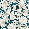 Zöldeskék alapon rajzolt pálmalevél mintás trendi prémium vlies tapéta