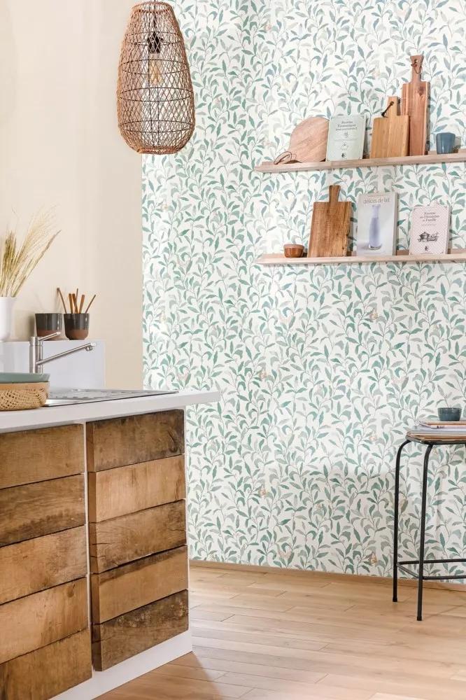 Zöldeskék skandináv hangulatú levélmintás vlies tapéta pillangókkal